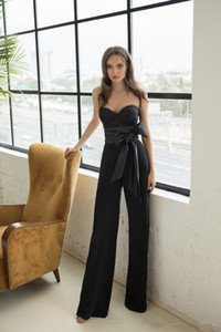 2019 New Julie Vino Black Prom Dresses Sweetheart Lace Donne Tuta Da Sera Abiti Bow Sash Formal Pants Tute Occasioni Dress