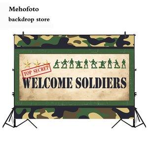 Sinal bem-vindo Mehofoto Homens do Exército Foto de Fundo decorações do partido da bandeira Comando Marines Partes Suprimentos Vinyl Cloth
