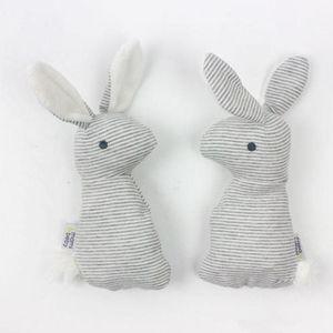 Toptan-Bebek Sevimli Yumuşak Hayvan Peluş El Kepçe Oyuncaklar Çıngırak Bebek Bebek Çizgili Bunny Eğitim Hediye Geliştirme Oyuncaklar K361