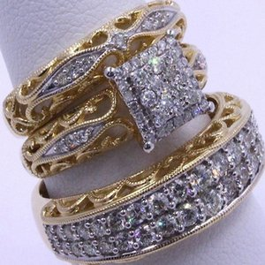 European and American Fashion luxury designer jewelry women rings championship rings love ring A set of rings (3 pieces)