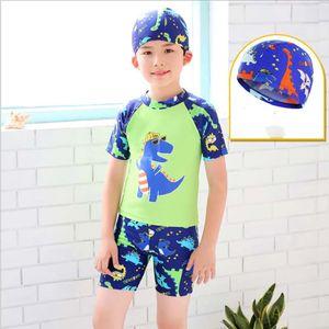 POPFavor 2 Peçassim bonés para Meninos Dino Dos Desenhos Animados Dionossauro Crianças Maiô Crianças Desgaste Da Praia Três-pcs terno Swimwear