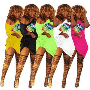 Lèvres femmes Robe imprimée à manches courtes T-shirt Encolure Robes d'été de poche une pièce Jupe Casual Tenues Party Club Mini robe Vêtements