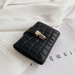 Factory wholesale women handbag new embossed leather women purses solid color folding stone wallet multifunctional leather coin purse