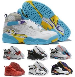 8 8s Basketball-Schuh-Turnschuhe Reflections Chrome Valentinstag South Beach Aqua Herren Weiß 2019 New Designers Jumpmans Des Chaussure Schuhe