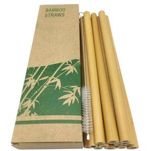 Многоразовые зеленые бамбуковые соломы натуральные экологически чистые соломинки для питья горячий напиток с очищающей щеткой свадебные аксессуары с коробкой бесплатная щетка