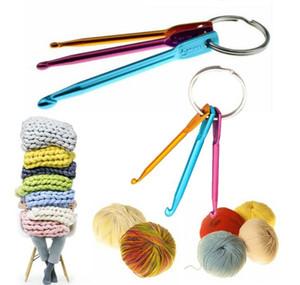 3pcs / set Mixed gancho Alumínio Cor Knitting agulha de crochê Set Keychain Chaveiro DIY Viagem de costura Acessórios