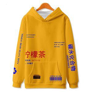 WAMNI Thé au citron Imprimé Pull en molleton Sweats Homme / Femmes Casual Hooded Sweat Streetwear Hip Hop Harajuku Homme Hauts MX191121