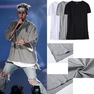 Justin Bieber T-shirt Concerto della maglietta hip hop Linea curva Hem lungo degli uomini supera i T Hip Hop Urbano Blank Justin Bieber Camicia TX156