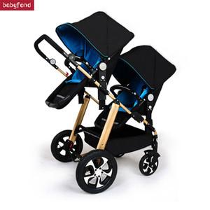 RU livraison gratuite! Twins poussette bébé lumière noire landau poussette multifonctions Kid 1er landaus doubles
