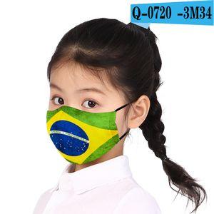 Cotton 3d National Sunscreen Flag Dustproof Pm2.5 Filter Printing Children's Mask Washable Ice Silk Mask 105EFJ