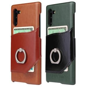 Para Samsung Galaxy Note 10 Note10 Pro Business Cuero genuino Piel de vaca natural Cubierta trasera Caja del teléfono Anillo Kickstand Card Pocket