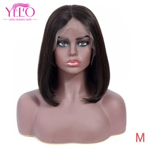 Yelo Hair Products 13X4 Lace Frontary Short BoB Wigs 150% Density 1B # Remy Brazilian Human Hair Straight For Women