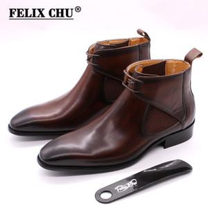 Felix Chu yarım bot kadar siyah el yapımı dantel boyalı kare düz ayak dana derisi çizme kahverengi el deri çizme mens