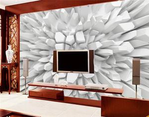 الأبيض 3D مشع ستون صور خلفيات مخصص جدارية جدار الفن الحديث لوحة جدارية HD 3D غرفة TV 3D خلفيات
