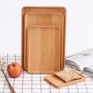 Plateau de nourriture rétro en bois naturel multi taille rectangle biscuits à pizza plateaux fruits thé assiettes à café petits déjeuners pain plateaux à lait VF1602 T03
