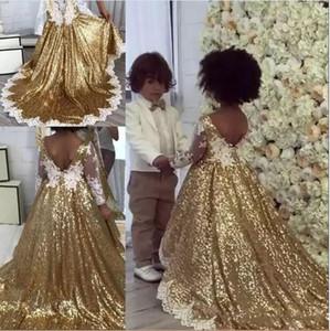 2019 Gold Pailletten Blumenmädchenkleider Für Hochzeiten V Zurück Weiß Spitze Appliques Mit Langen Ärmeln Prinzessin Bodenlangen Festzug Kleider Kinder Prom