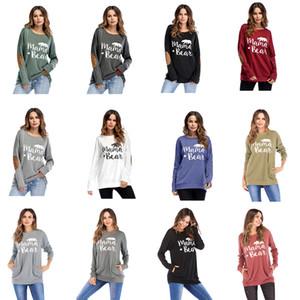 S-2XL Mama ours heureux CAMPER graphique des T-shirts automne patché Monogram overs Mamans femmes 2018 T-shirts Fashion Mama Tops Taille Plus LD112703