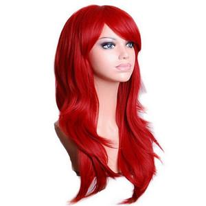 Cosplay ondulato lungo Rosso Verde Viola Rosa Nero Blu Sliver Grigio Bionda Brown 70 Cm capelli sintetici parrucche