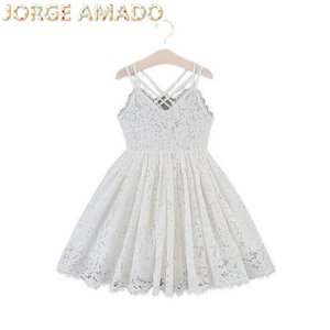 Wholesale Girls Dress 2020 Summer new Kids Princess Dress for Girl White Lace V-neck Halter Dress Children Clothes E15181