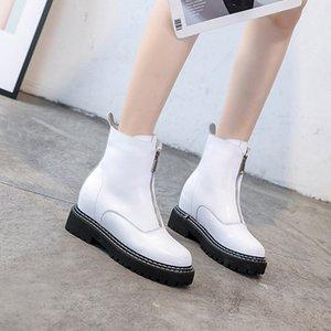 blancos zapatos de invierno botines plataforma de la mujer para las mujeres Botas Blancas corta de la manera mujer de felpa de costura cremallera buty damskie TSDFC