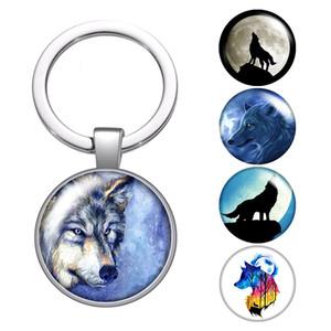 Cabochon Lobo Animais Pegadas de vidro Coruja Keychain Bag Car Chaveiro Anel encantos suporte de prata chaveiros Presentes para Homens Mulheres