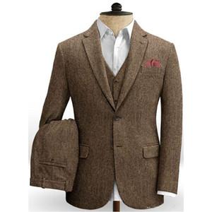 2020 Costume Homme Tweed Mens Dinner Party Casual Suit Groom Tuxedos Wedding Blazer Suits For Men 3 Piece(Jacket+Pant+Vest+Tie)