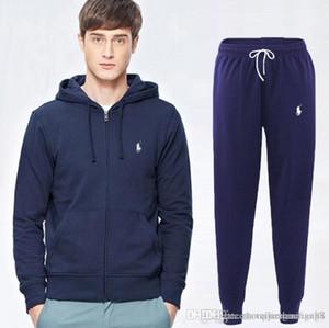 toptan Sonbahar erkekler tam zip polo eşofman erkek spor takım elbise beyaz ucuz erkekler sweatshirt'ü ve pantolon takım elbise kapüşonlu ve pantolon seti beni eşofman