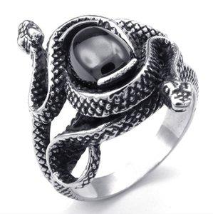 Мужские ювелирные изделия креативный дизайн готический панк Винтаж нержавеющая сталь двойной змея группа байкер мужские кольца, черный серебро-по Мате кольца размер 7-15