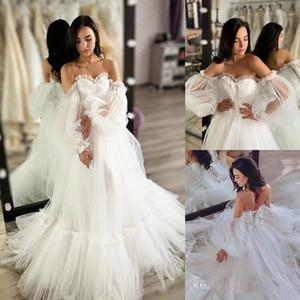 Очаровательные чешские пляжные свадебные платья милая шея с плеча свадебные платья с длинными рукавами линия развертки поезд тюль robe de mariée