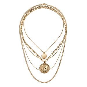 Rongho Nuevo diseño Capas múltiples Metal Gargantillas de cabeza humana Collar de monedas de oro círculo colgante Collar de cadenas vintage Collar