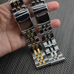 İzle Aksesuarları 18mm 20mm 22mm 24mm Watchband Cilalı Için Katı Paslanmaz Çelik Kelebek Toka Askı Bilezik