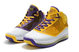 2020 ليبرون 7 لوس انجليس ليكرز PE للبيع مع صندوق حار رجل إمرأة حذاء كرة السلة تخزين size40-46 بالجملة