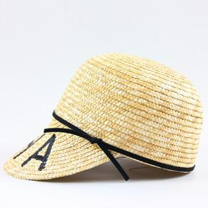 Kadınlar Nefes Soğuk Güneş Şapkalar için 2020 Yeni Moda CHA Harf Caps Yüksek Kaliteli Dokuma Hasır Basit Şapka