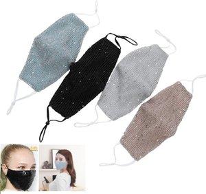 El diseñador de moda de Bling Bling de las lentejuelas máscara protectora a prueba de polvo máscaras PM2.5 boca reutilizable lavable mujeres de la mascarilla del HH9-3032