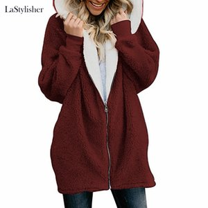 2019 neuer Frühling-mit Kapuze Mäntel Female-Pelz-Mantel Teddy Long Jacket Women Fashion Zipper Langarm-Fuzzy-Jacken-Mantel Kleidung