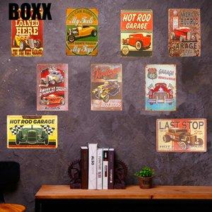 Rétro Pancarte de Métal Plaque Garage voiture moteur affiche d'art Route 66 moto avec Striking Cave Man Accueil décorations