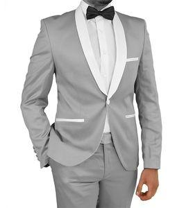 Groomsmen smokings marié gris argenté Nouveau Arrivée Châle Blanc Hommes Lapel Costumes de mariage meilleur homme Epoux 2 pièces (veste + pantalon + cravate) L351