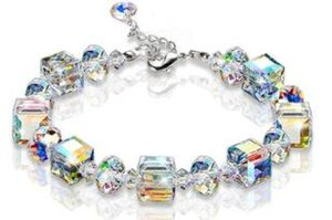 Crystal bling block geometry bracelets AB colorful bracelets wedding party birthday gifts cheap bracelet two colors 501
