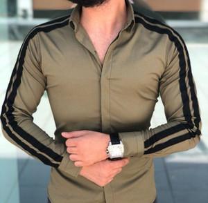 Uomini casuali camice camicetta Tops maschio Stripe manica lunga dimagriscono vestito casuale camice Bianco Rosso Nero intelligente Camicia