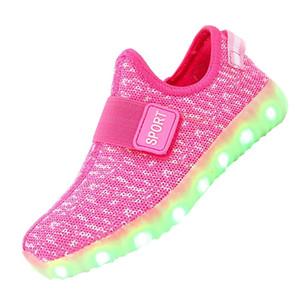 Garçons Filles Respirant Led Light Up Chaussures Clignotant Led Sneakers Lumineux Enfants Chaussures Avec La Lumière Rougeoyante Sneakers Enfants Rose Y190525