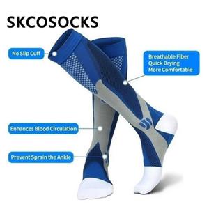 Alta calidad de los hombres calcetines de compresión pata de apoyo de estiramiento calcetines de compresión para la lucha contra el alivio del dolor de rodilla Fatiga Medias Altas