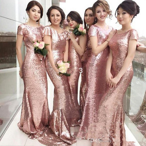2020 Rose Pink Sequined Mermaid Bridesmaid Dresses With Capped Sleeves Customize Long Maid Of Honor Dress Formal Party Gown