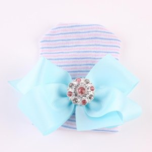 European and American new big bow shiny diamond pink striped female baby knitted hat newborn baby hedging hat