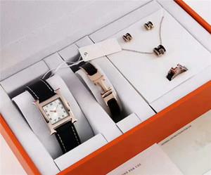 Reloj de lujo para mujer Juego de 5 piezas Pulsera de titanio Pendientes del anillo Collar famosa marca de diseño reloj para mujer Reloj con correa de cuero AAA para mujer