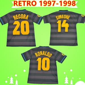 Inter Milan soccer jersey # 10 RONALDO 1997 1998 Retro Fußball-Trikot Fußball Trikot schwarz 97 98 klassische Djorkaeff SIMEONE Moriero ZAMORANO Jahrgang Maglia da calcio