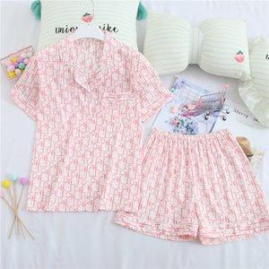 das mulheres doce Casual Verão pijamas de manga curta Pijamas Shorts Tendência letra impressa pijamas Ladies Home Service Suit Nightdress