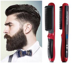 Styler de la herramienta del pelo de la barba corta cepillo rizador de Curling enderezadora plancha de pelo rizado de belleza multifuncional peine del pelo de los hombres