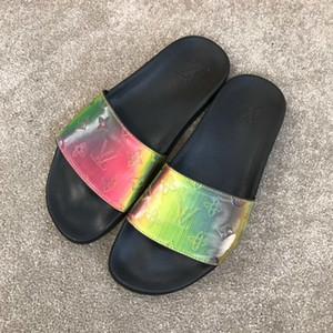 louis vuitton LV Yüksek Kalite erkekler sandalet Ayakkabı Slayt Yaz 2019 yılında Sıcak Satış moda Lüks Tasarımcı Düz Kaygan Sandalet Terlik Flip Flop K114
