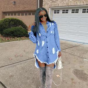 Kot Püskül dizayn edilmiş elbiseler Kadınlar Hiphop Denim Blue Jean Gömlek Elbise İlkbahar Sonbahar Ripped