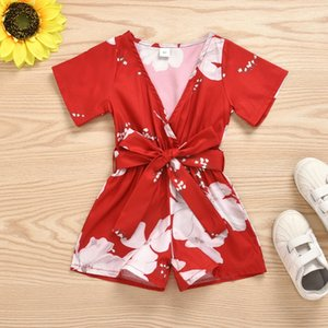 Baby Summer Flower Clothes Toddler Kids Baby Girls Clothes Romper Flare Short Sleeve Jumpsuit Floral Holiday Outfit23